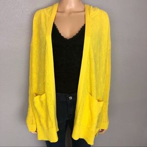 Anthropologie Sparrow Yellow Hooded Open Cardigan